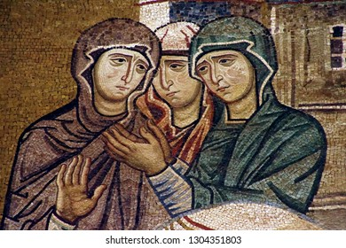 PALERMO, SICILY - NOV 28, 2018 - Detail of Bible figures on wall of fthe Capella Palatina, Palermo, Sicily, Italy