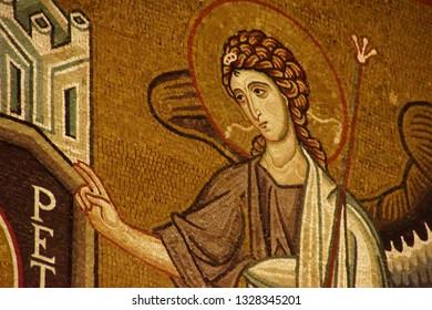PALERMO, SICILY - NOV 28, 2018 - St Peter and angel on wall of Capella Palatina, Palermo, Sicily, Italy