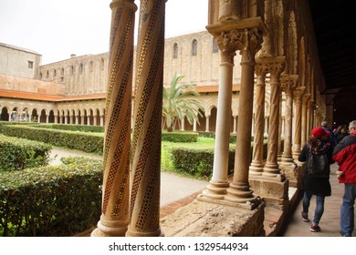 PALERMO, SICILY - NOV 28, 2018 - Columns of the cloister of Cathredral Monreale, Palermo, Sicily, Italy