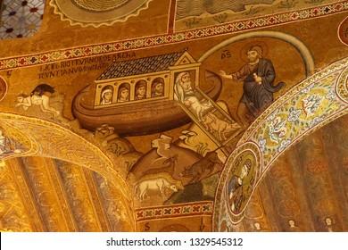 PALERMO, SICILY - NOV 28, 2018 - Mosaics showing story of Noah's Ark, Capella Palatina, Palermo, Sicily, Italy