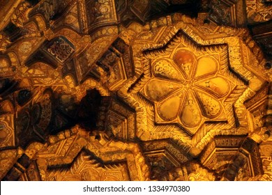 PALERMO, SICILY - NOV 28, 2018 - Golden Stalactite modeling on ceiling of the Capella Palatina, Palermo, Sicily, Italy