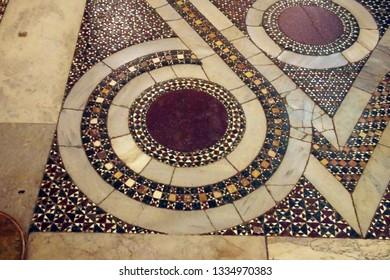 PALERMO, SICILY - NOV 28, 2018 - Detail of inlaid marble Islamic design  on floor of Capella Palatina, Palermo, Sicily, Italy