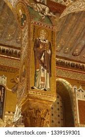 PALERMO, SICILY - NOV 28, 2018 - Mosaic of St Athanasius of Alexandria on a column of the Capella Palatina, Palermo, Sicily, Italy