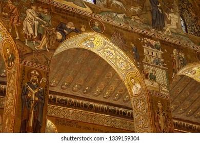 PALERMO, SICILY - NOV 28, 2018 - Elaborate Byzantine style mosaics cover the walls and columns of Capella Palatina, Palermo, Sicily, Italy