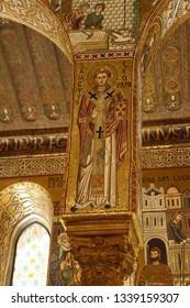 PALERMO, SICILY - NOV 28, 2018 - Mosaic of Pope Leo on a column of the Capella Palatina, Palermo, Sicily, Italy