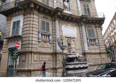 PALERMO, SICILY - NOV 28, 2018 - Quattro Canti , the Four Corners square in the heart of Palermo, Sicily, Italy