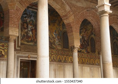 PALERMO, SICILY - NOV 28, 2018 - Heroic frescoes and columns outside the Capella Palatina, Palermo, Sicily, Italy