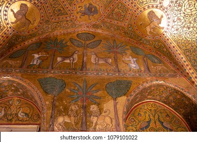 Palermo, Sicily/Italy - April 15 2018:  Famous Byzantine Mosaics in Palatine Chapel. Norman Palace of Kings interior in the historical city center.