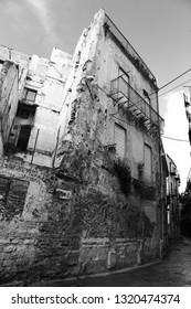 Palermo, Sicily/Italy - February 02 2019 - Black and White Coastal City of Palermo