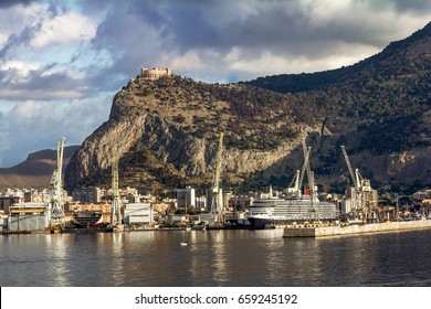 Palermo.Italy.May 26, 2017.A view of the port and Castello utveggio on mount Pellegrino in Palermo. Sicily