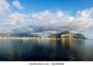Palermo.Italy.May 26, 2017.A view of the port and mount Pellegrino and the city of Palermo from the sea. Sicily