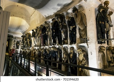 Palermo.Italy.May 26, 2017.Burial in the catacombs of the Capuchins in Palermo . Sicily