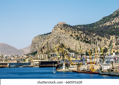 Palermo.Italy.May 27, 2017.A view of the port and Castello utveggio on mount Pellegrino in Palermo. Sicily