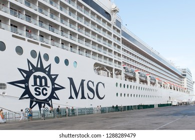 Palermo/Italy - September 08 2014: MSC Musica cruise ship docked in Palermo, Italy. The MSC Musica was built in 2006 and is operated by MSC Cruises.