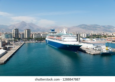 Palermo/Italy - September 08 2014: Pullmantur Sovereign cruise ship docked in Palermo. Pullmantur Cruises is the largest Spain-based cruise line.