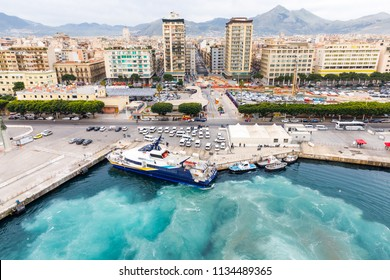 PALERMO,SICILY,ITALY-ARPIL 10,2018: Scenery from the sea to the marina in palermo,old town in southern Italy.This is a cruise ships marina and yacht port