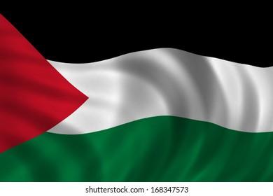 Palestine flag fluttering on a wind. Close up.