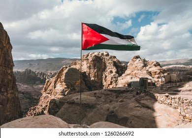 Palestine Flag on the top of mountain in Palestine,