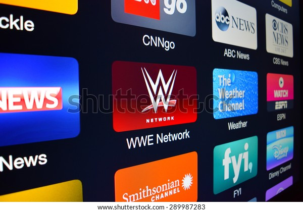 PALESTINE, TX - JULY 23, 2015: The WWE Network icon displayed on an Apple TV.