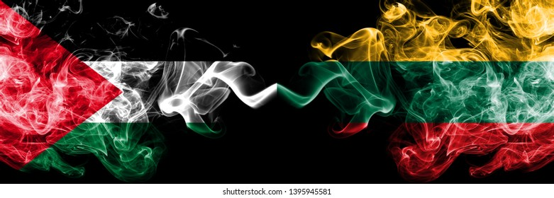 Palestine vs Lithuania, Lithuanian smoky mystic flags placed side by side. Thick colored silky smokes flag of Palestinians and Lithuania, Lithuanian.
