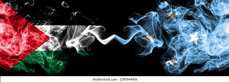 Palestine vs Micronesia, Micronesian smoky mystic flags placed side by side. Thick colored silky smokes flag of Palestinians and Micronesia, Micronesian.