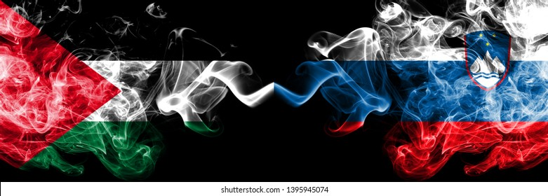 Palestine vs Slovenia, Slovenian smoky mystic flags placed side by side. Thick colored silky smokes flag of Palestinians and Slovenia, Slovenian.