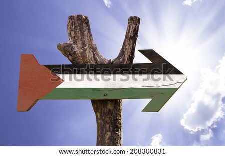 Palestine wooden sign on
