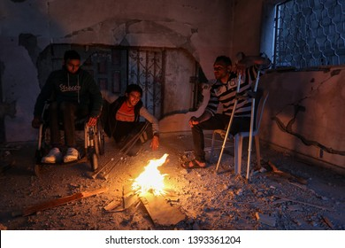 Palestinian amputees break their fast at a community centre a during the month of Ramadan, which was destroyed by Israeli warplanes. in Rafah, Gaza Strip, on May 8, 2019. Photo by Abed Rahim Khatib