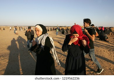 "Palestinian demonstrators attend the ""Great March of Return"" demonstration on the Israel-Gaza border, in Rafah, southern Gaza Strip, on November 2, 2018. Photo by Abed Rahim Khatib"