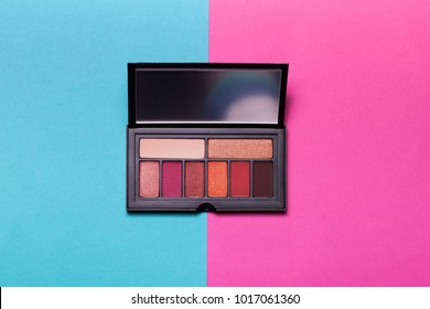 Palette of colorful eyeshadows from high view