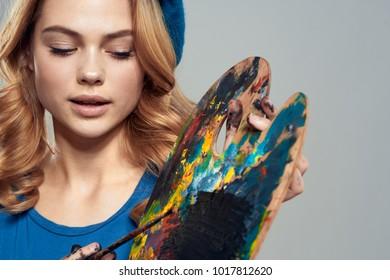 palette, colors, art, woman, paint