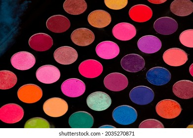 palette of many colors for makeup with its accessories