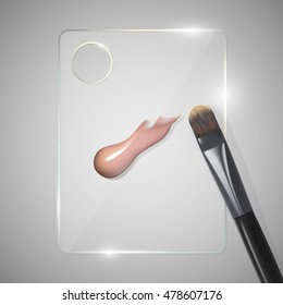 Palette for mixing beauty products with smear foundation and brush. 3D illustration