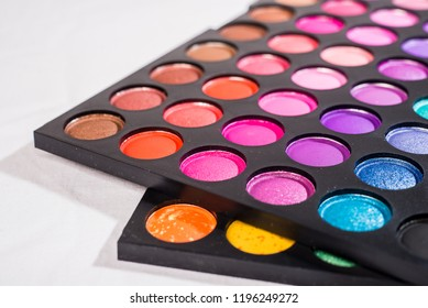 Palette of multicolored eyeshadows, close-up
