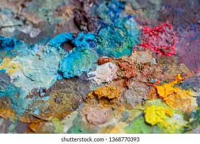 palette of oil paints