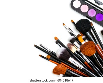 Palette and professional makeup Brushes on white background, Desk, make-up artist