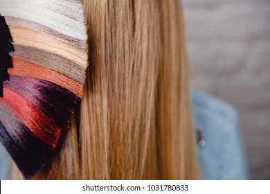 Palette set of hair colors on background of head and blonde. Concept staining color selection