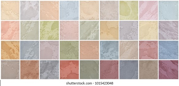 A palette of textures of colored travertine is a decorative covering for walls. Interior Design
