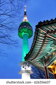 Palgakjeong Pavilion and N-Seoul Tower on the top of Mt. Namsan at twilight. Seoul, South Korea.