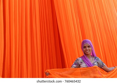 PALI, INDIA, November 3, 2017 : Woman in textile factory. Pali is famous for its textile industries. This is the biggest cotton mill of Rajasthan, it employs 3000 workers.