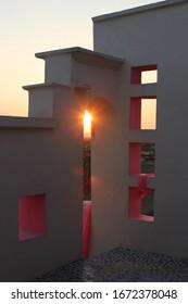 Pali, Rajasthan / India - November 11 2012: A beautiful view of the Lakshman Sagar Resort in Pali