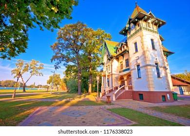 Palic lake waterfront near Subotica historic architecture view, Vojvodina region of Croatia