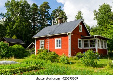 PALKANE, FINLAND - JULY 17, 2015: Traditional finnish house in the countryside.