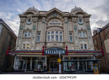 The Palladium Llandudno Gwynedd North Wales December 2014. The front of the Palladium public house.