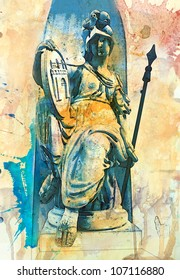 Pallas Athena statue in Budapest, Hungary - artwork in watercolor style