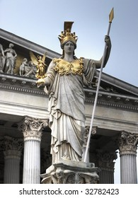 The Pallas Athene Fountain was build in front of the main portal of Vienna's Parliament Buildings in 1902. The 4m figure of Pallas Athene armed with a lance is the work of Kundmann.