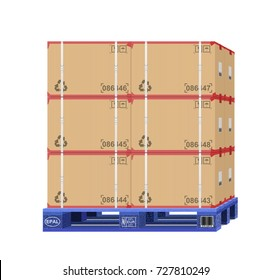 pallet with boxes on a white background,cargo on pallet, 3D illustration