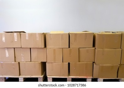 Pallet with Cardboard boxes. brown boxes. Shipment