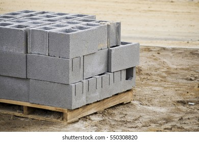 A Pallet of Cinder Blocks on a Construction Site
