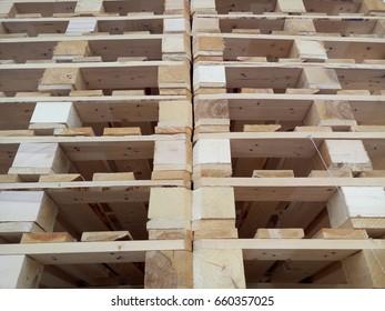 Pallet storage. A big pile. Wooden mountain.